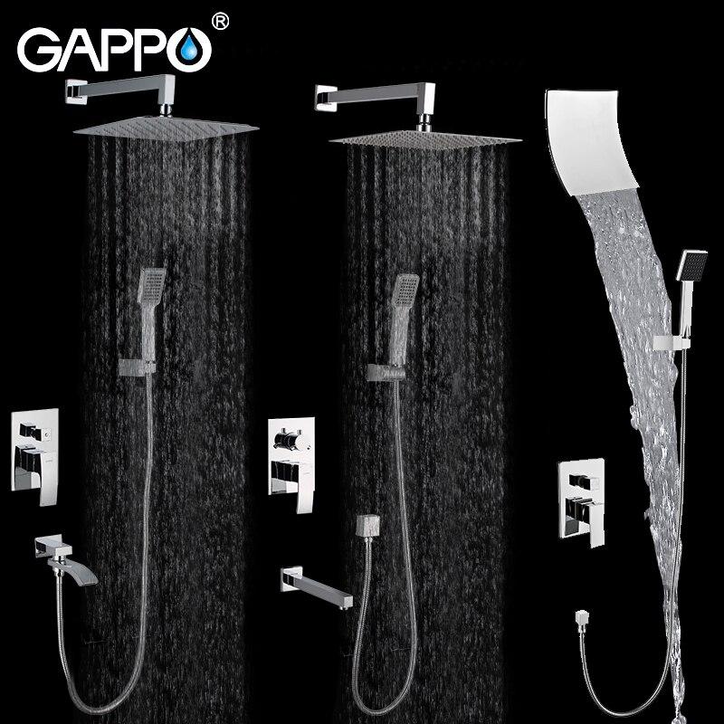 GAPPO Mur salle de bains douche set robinet bronze précipitations douche robinet chrome baignoire robinet robinet cascade tête De Bain Douche GA7102