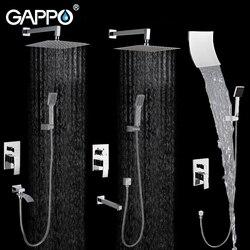 Gappo sistema de chuveiro do banheiro parede conjunto bronze chuvas torneira do chuveiro chrome torneira da banheira cachoeira cabeça banho ga7102