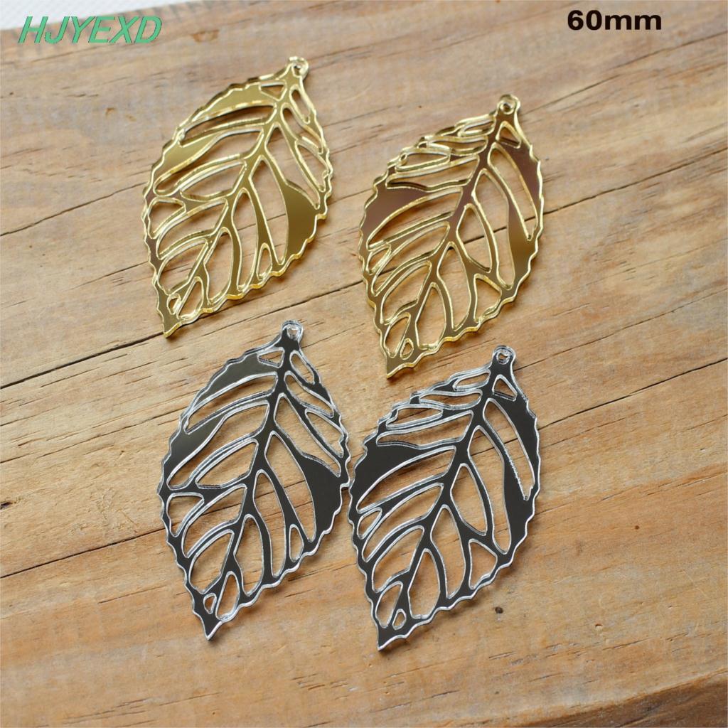 60mm Acrylic Leaves Dangle Earrings Acrylic Drop Earrings Gold & Silver Mirror Laser Cutout 2.4