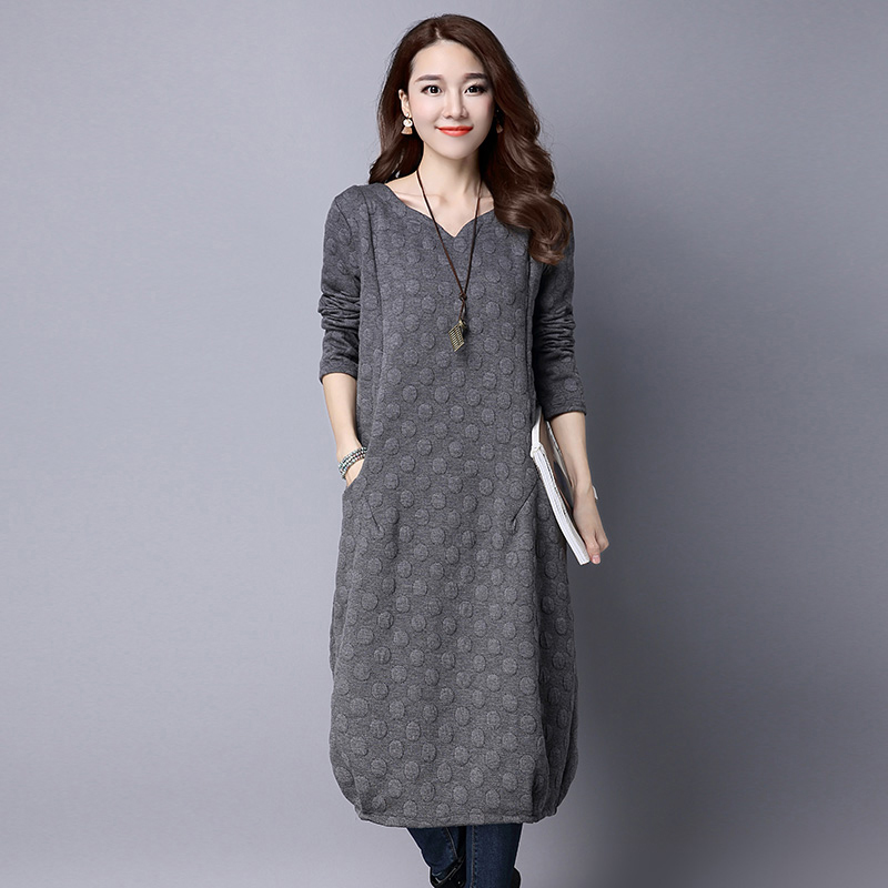 women plus size loose dress 2017 autunm winter cotton