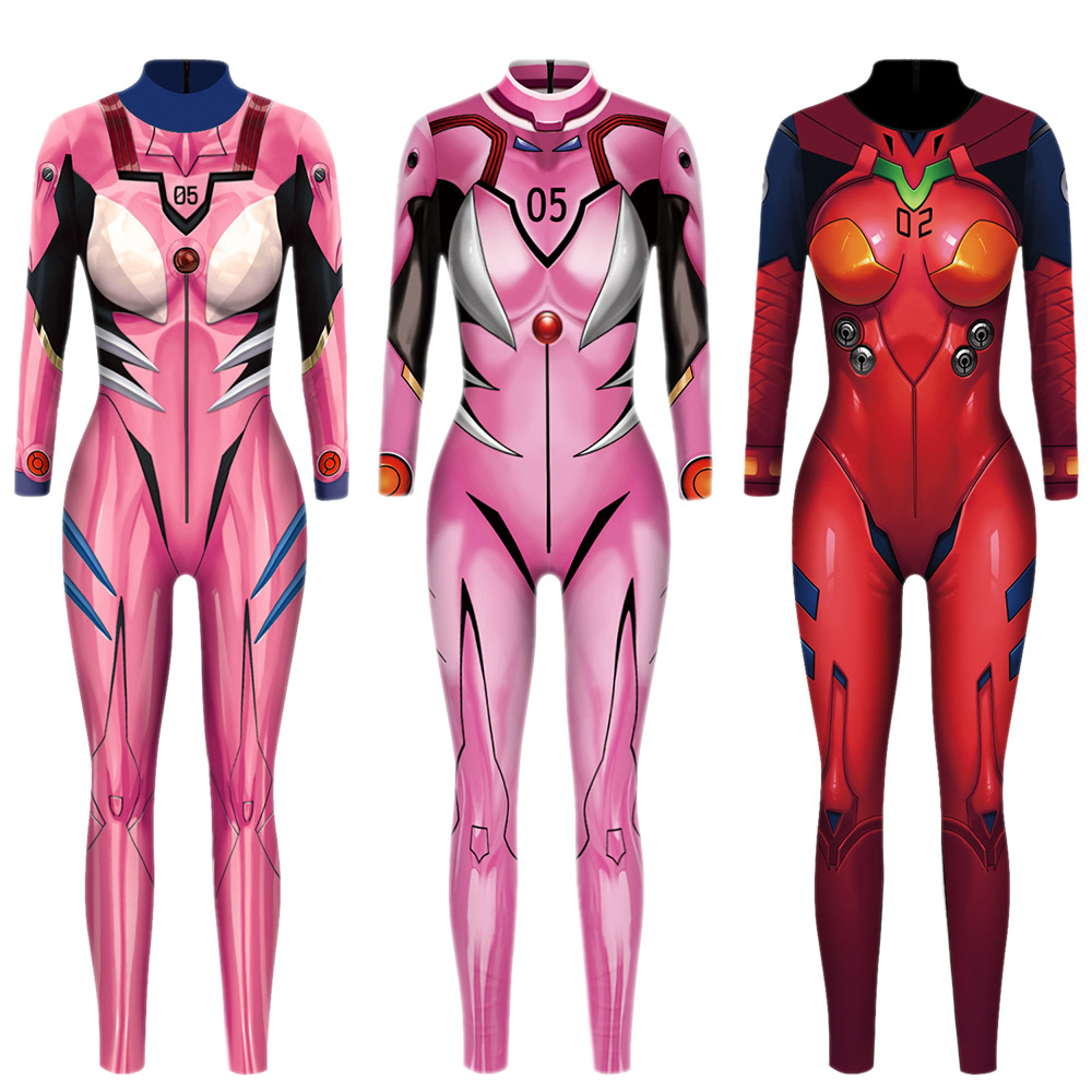 VIP FASHION Evangelion Asuka Langley Soryu Jumpsuits Anime Comic Cosplay Costume Top Warrior Costume Zentai Suit Bodysuit