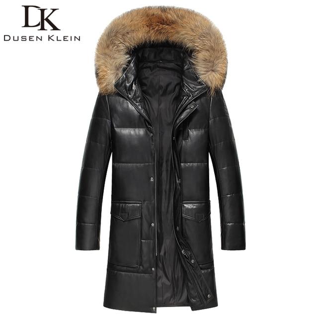 2016 Brand long down jacket men Real sheepskin duct down Slim style Raccoon collar winter leather jacket 61H1661