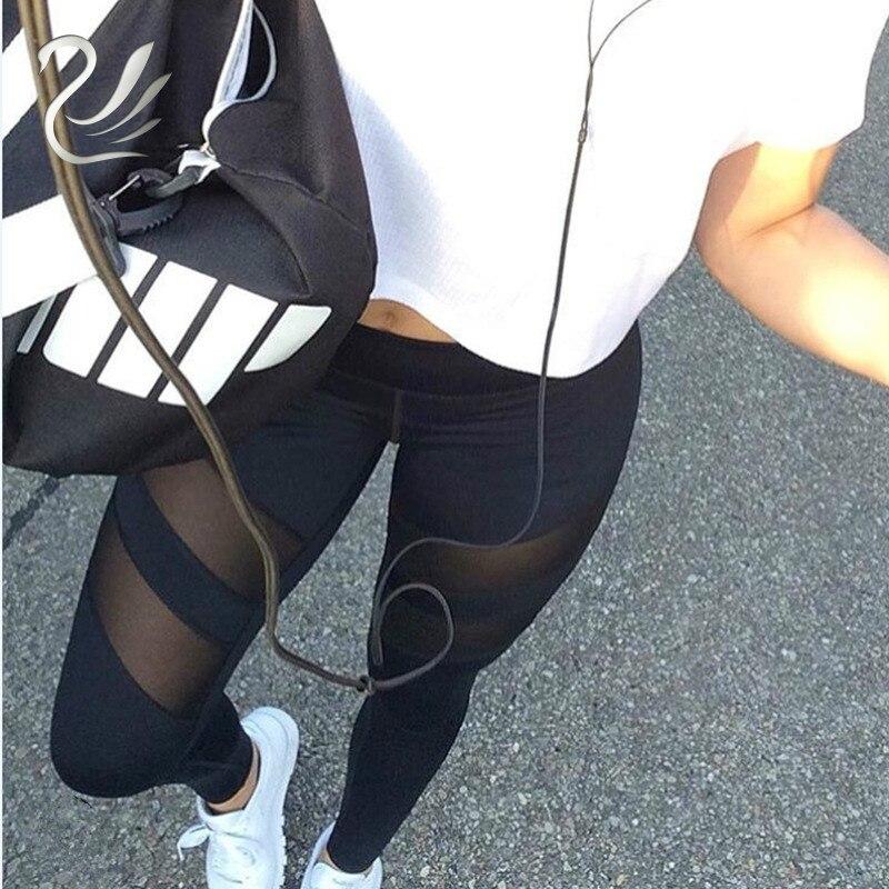 2018 Fashion Fitness Leggings Women Slim High Waist Patchwork Black Sexy Mesh Pants Skinny Push Up Mujer Legins Calzas