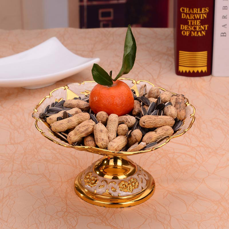 Assiettes européennes rondes en Or brillant | Assiette à fruits, assiette à Dessert, plateau à fruits doux plats à fleurs pour le mariage ou la fête - 6