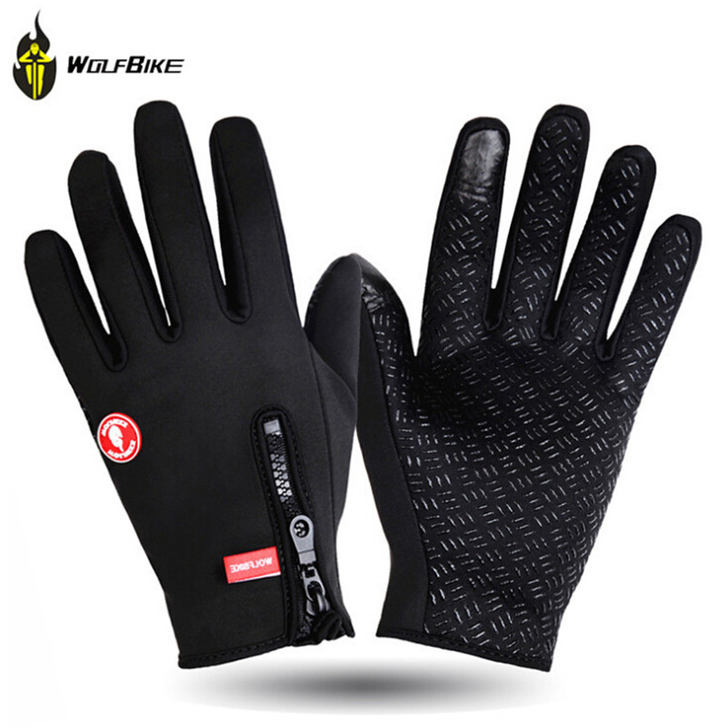 WOLFBIKE Ski Gloves Men Sport Windproof Thermal Touch Luva Guantes Snowboard Guantes Hiking Climbing Skiing Gloves Winter