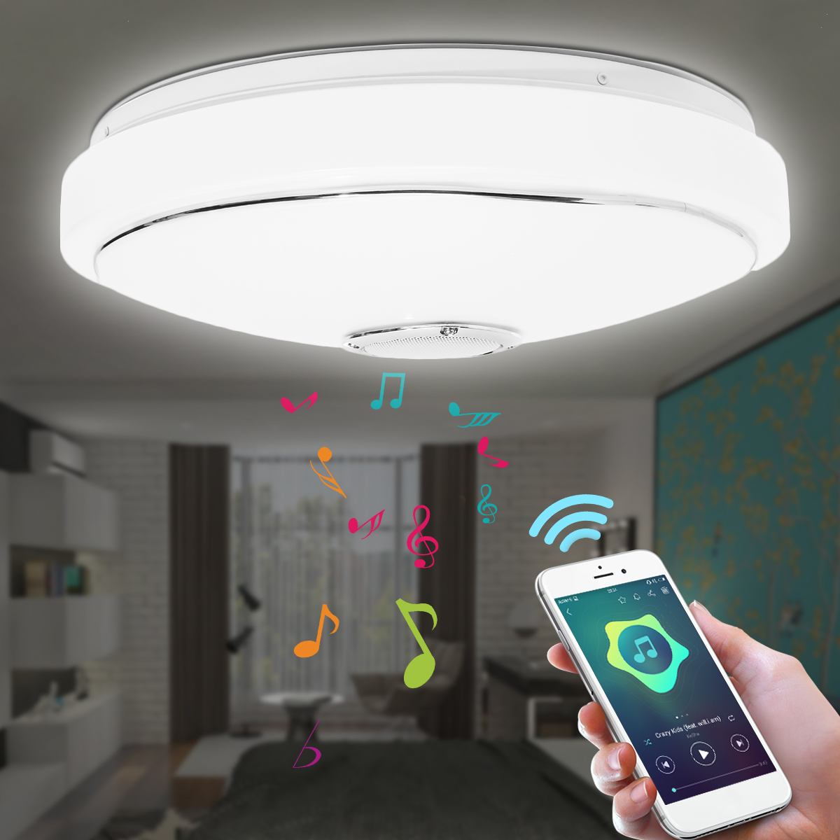 Smuxi Bluetooth Music LED Ceiling Light with Controler Color Changes Light Flush Mount Lamp For Home Decor Bedroom Light Fixture