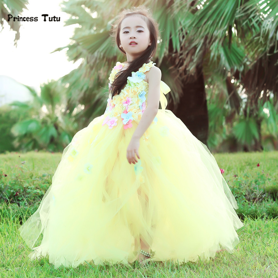 ФОТО Princess Belle Flower Fairy Tutu Dress Kids Fancy Party Christmas Halloween Dress Beauty Beast Cosplay Costume Girls Ball Gown