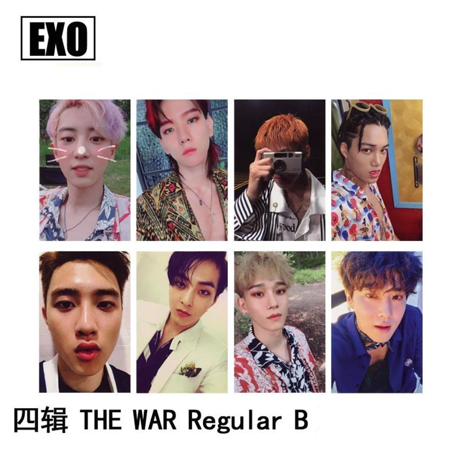 Kpop EXO The War Kokobop Paper Photo Card Chanyeol Sehun Self Made Autograph Photocard Poster 8pcs