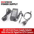 100 В-240 В В ПОСТОЯННЫЙ 12 В 8.5A Импульсный Источник Питания Адаптер 1 до 4 Power Plug Пигтейл с 4 Способа для CCTV Камеры Безопасности DVR Комплект
