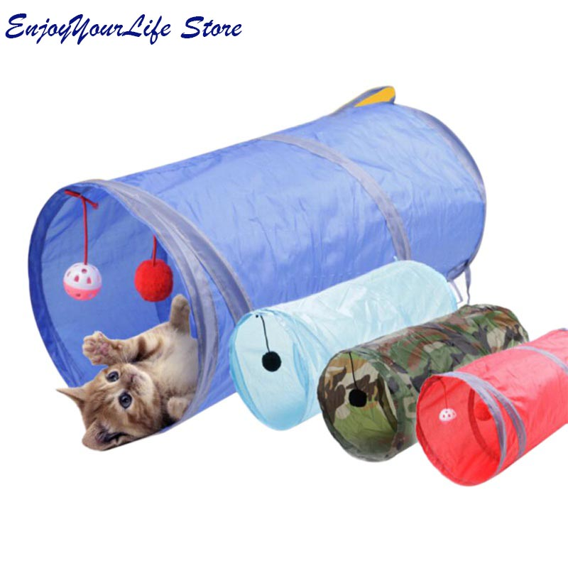 3 Colors Cat Tunnel Animal Play Toy Cat Training Collapsible Bulk Funny Cat Toys Product With Ball Long High Quality