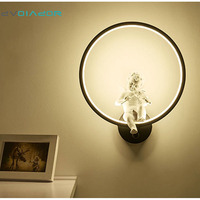 DVOLADOR Art Angel Wall Lamps LED Lamps Nordic Creative Living Room Bedroom Wall Lamp AC 220V