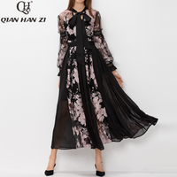 Qian Han Zi runway Maxi dress Bow collar Lantern Sleeve embroidered Patchwork feathers retro woman party long dress plus size