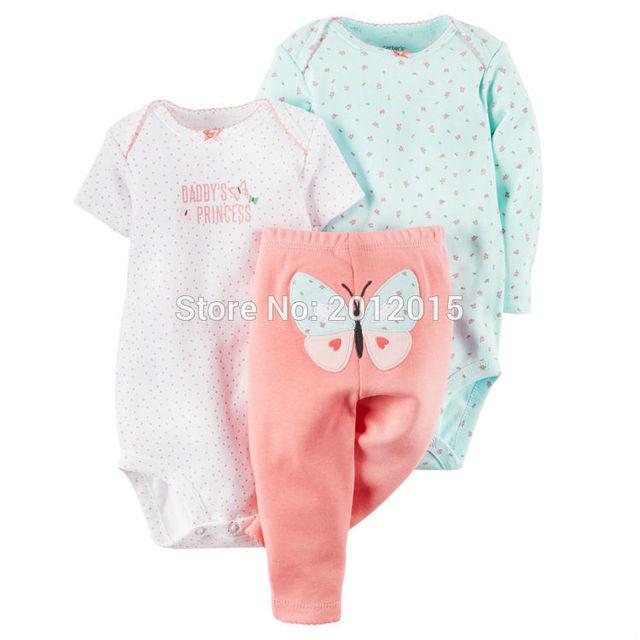 Original del 2017 de Algodón bebé bebes boy ropa de la muchacha set, niños de la ropa del bebé de la manga completa + pantalones + lindo del mameluco de la mariposa modelo