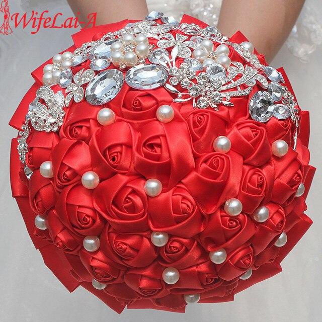 Aliexpress buy wifelai a 1piece new luxury red rose flowers wifelai a 1piece new luxury red rose flowers silk brooch bridal bouquets butterfly diamonds stitch mightylinksfo