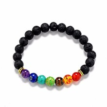 Black Lava 7 Chakra Healing Balance Beads Bracelet