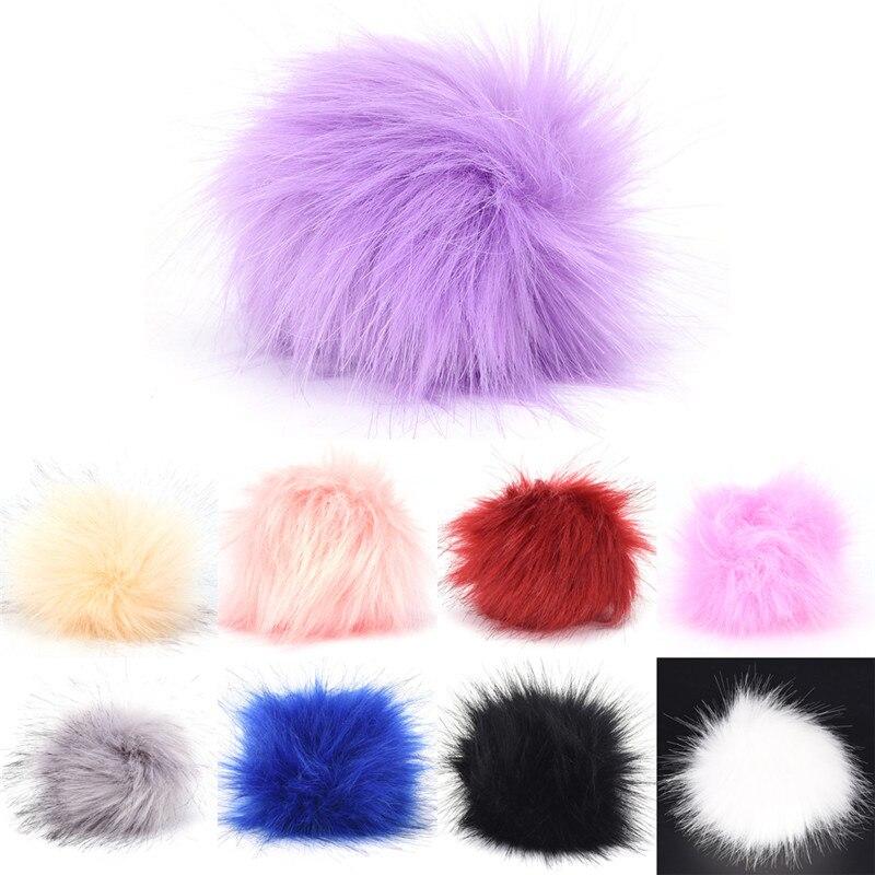 Fur Pom Pom Keychains 10 CM Faux Rabbit Fur Ball Keychain Llaveros Portachiavi Fluffy Keychain Porte Clef Porte Clef Pompom De