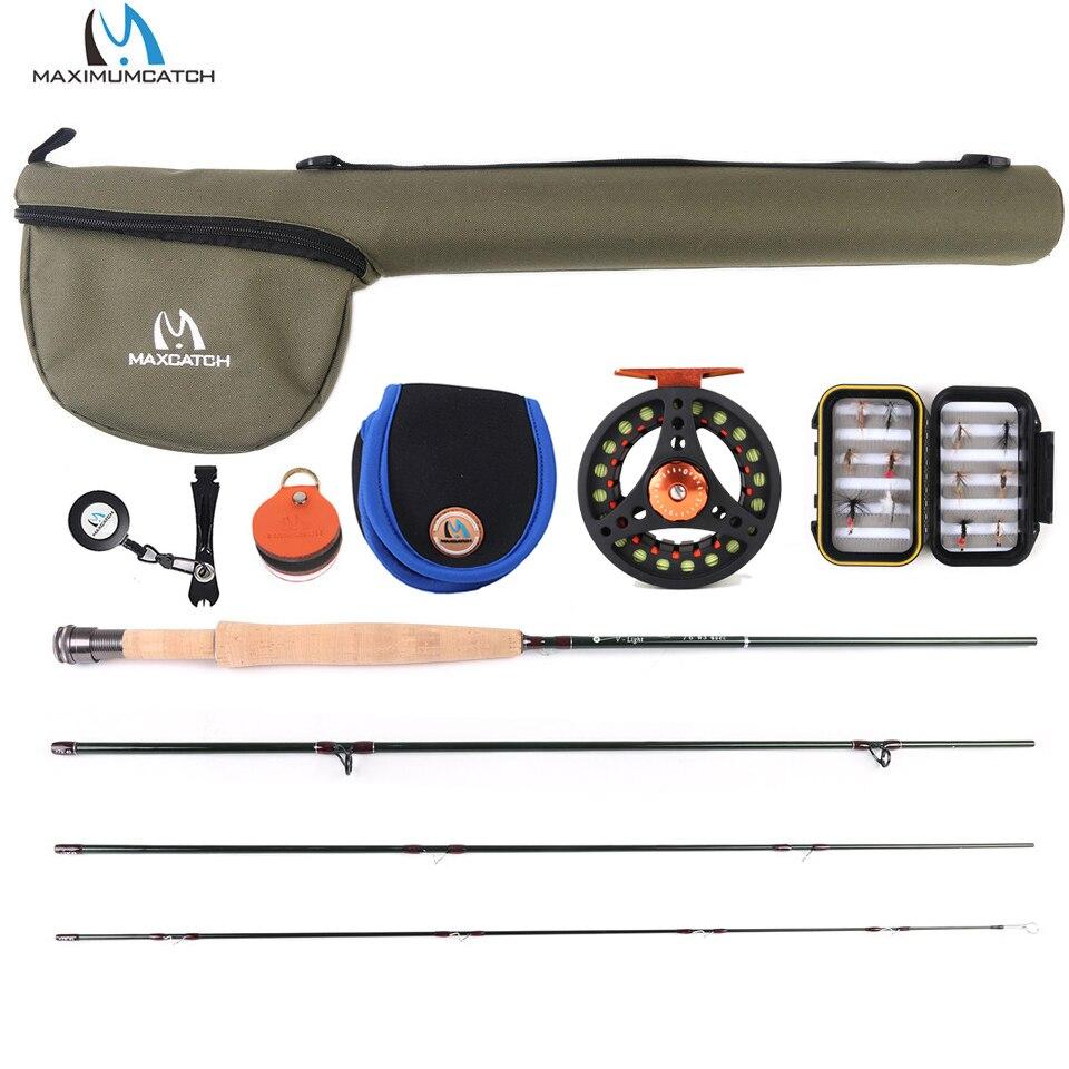 Maximumcatch Fluxo Pequeno Riacho Voar Vara De Pesca Carretel de Alumínio Kit Linha 6ft-7.6ft 1/2/3wt