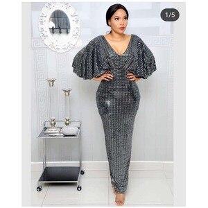 Image 2 - Zarif Payetli Akşam Elbise 2019 Kadın V Yaka Yarasa Kollu Kat Uzunluk Yüksek Bel Bodycon Maxi Elbise Yüksek Streç Partyclub