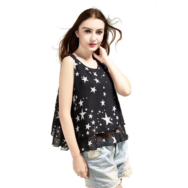 2015 New Hot mulheres moda senhora elegante 2 camada sem mangas tanque colete Floral Chiffon Tops blusa T - camisa