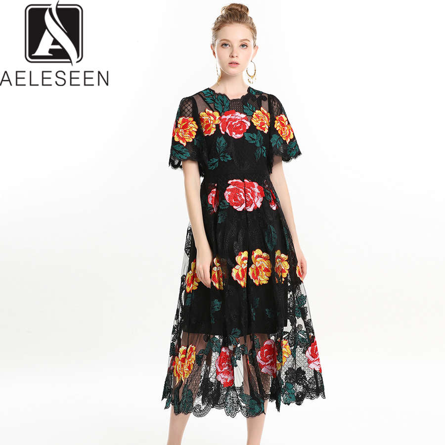 AELESEEN High Quality Runway Dresses Women 2019 Summer Flare Sleeve Flower Embroidery Mesh Patchwork Mid Calf