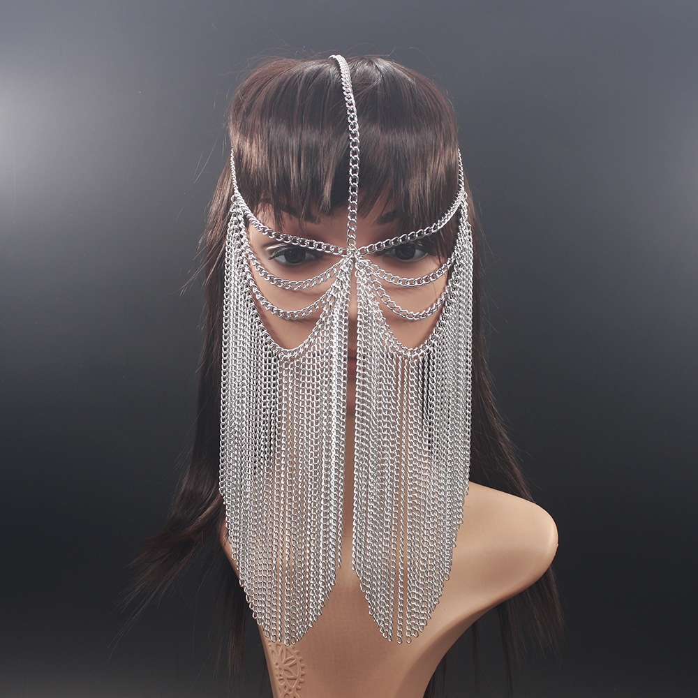 BeUrSelf Facemask Chain Women Silver Gold Face Cover Tassel Aluminium Head Chain Face Veil Layers Harness Body Jewelry Headdress in Body Jewelry from Jewelry Accessories