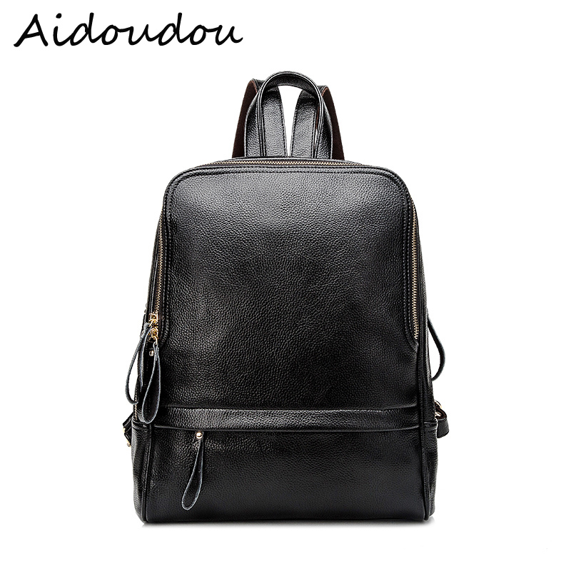 New 2018 Real Soft Genuine Leather Women Backpack Woman Korean Style Ladies Strap Laptop Bag Daily Backpack Girl School BA8 yuanyu 2018 new hot free shipping real python leather women clutch women hand caught bag women bag long snake women day clutches