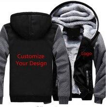 Dropshipping USA Size Custom Fleece Thicken Jacket Hoodie Mens Zipper Hoodie Sweatshirt Jacket Coat