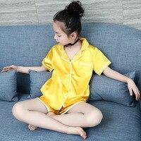 Summer Girls Boys Sleepwear Pajamas Clothing Set Teen Girls Casual Silk Fabric Pajamas Kids Sleepwear Summer Clothing Set H166