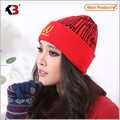 2016 New Arrival Winter Warm Red Beanie for Girls Women Casual Style Embroidery Beanie Hat Cap