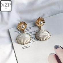 XZP 2019 Women Simple Pearl Drop Earring Summer Boho Jewelry Handmade Natural Sea Shell Earrings for Girls Wedding