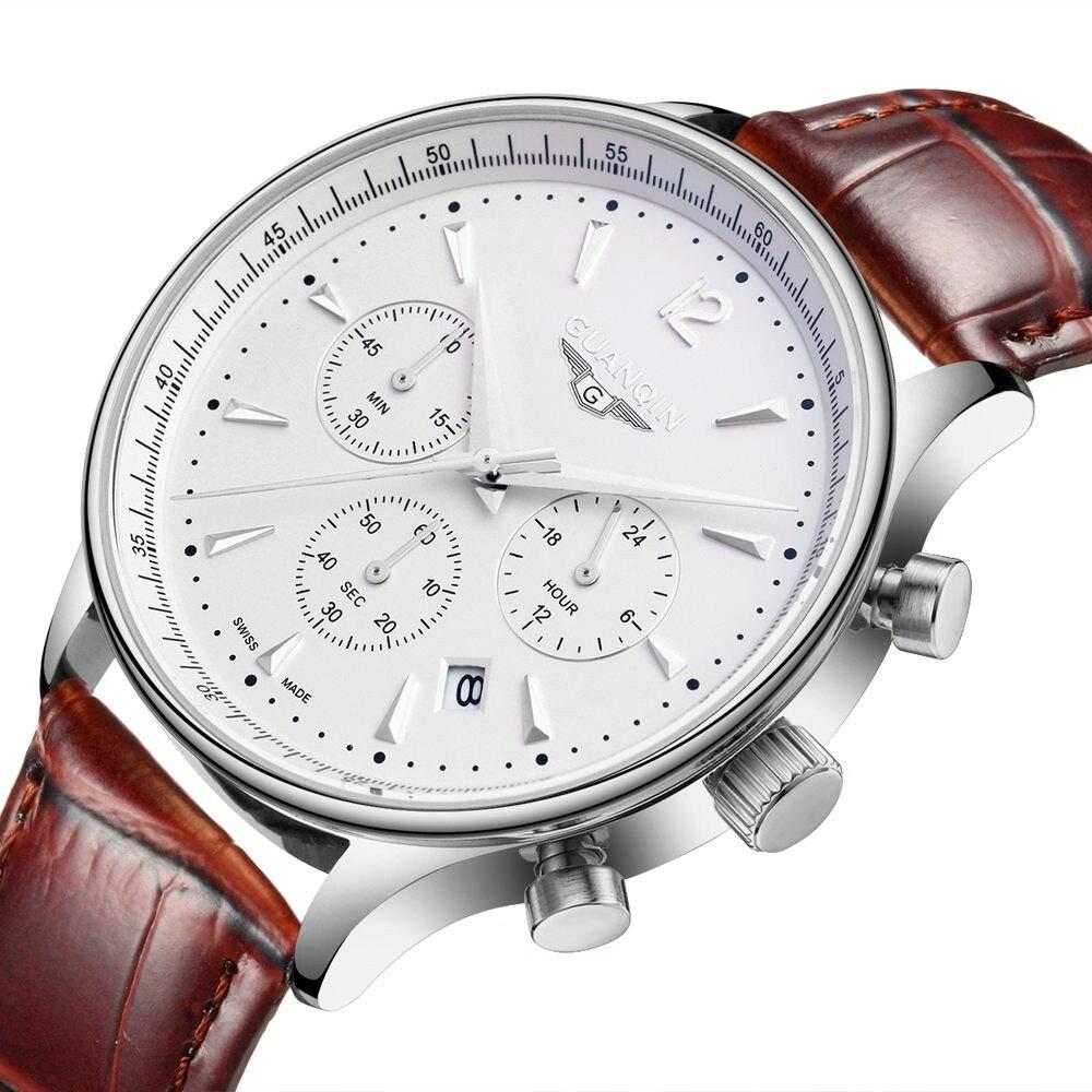 Hombres Relojes de cuarzo de cuero Top Marca de lujo GUANQIN Reloj de pulsera casual de los hombres de la moda de los hombres a prueba de agua reloj deportivo Relogio masculino
