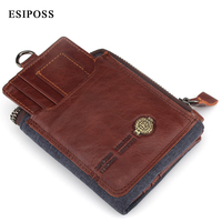 ESIPOSS 2018 New Genuine Leather Men Wallets Fashion Men's Short Wallet Coin Purse Card Holder wallets Men Clutch Zipper Clamp