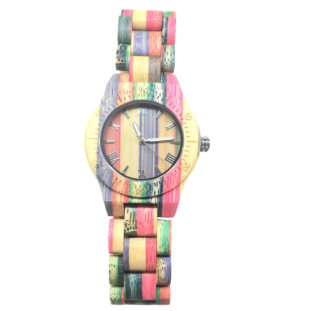 Wooden Watch Birthday Female Color Bamboo for Best-Gifts with in Idea-Box Full
