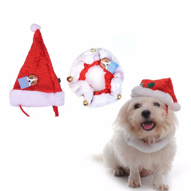new 2pcsset pet christmas dog hat and collar with bells cute dogs cat xmas