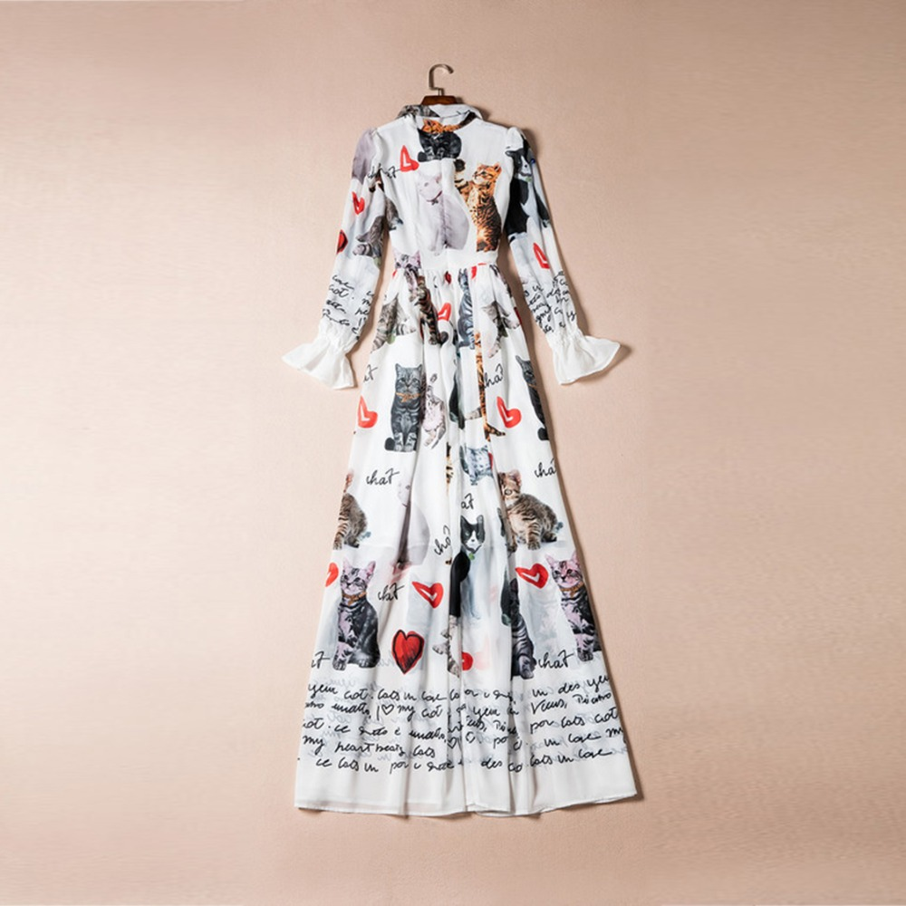 New 2017 Summer Fashion Elegant Print Bow Collar Long Flare Sleeve Floor Length Cat & Heart White Long Dress Vintage Bohemian - 4