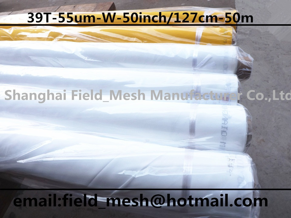 Free shipping ! 39T(100mesh)-55um-White-50inch/127cm-50m- polyester prinnting mesh