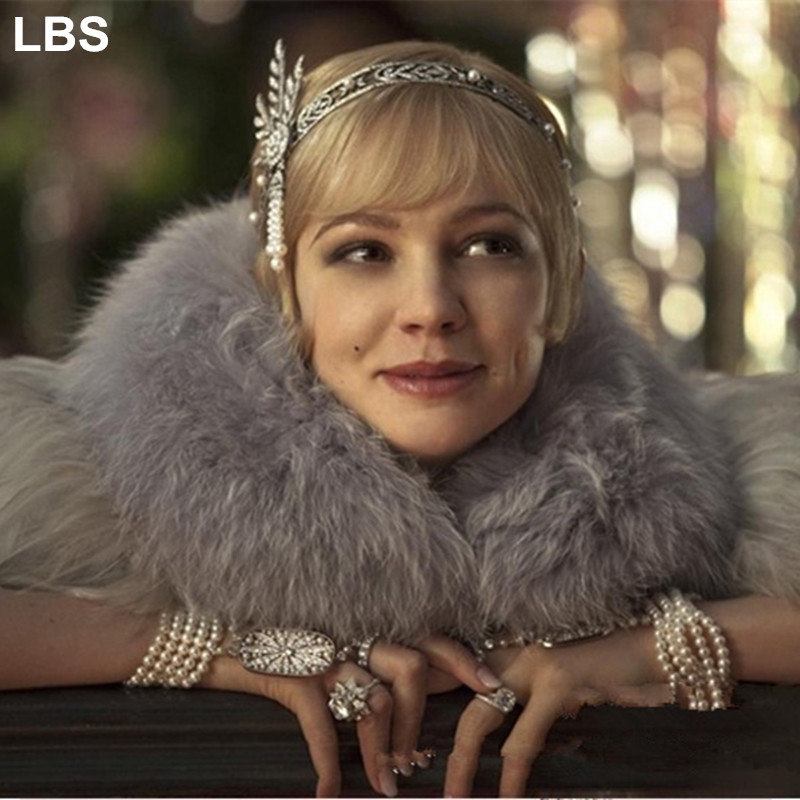Hot Silver Flapper 1920s Great Gatsby Style Pearl Crown Head Hair