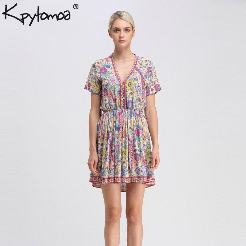 Boho Vintage Vögel Floral Print Mini Kleid Frauen 2018 Neue Mode V-ausschnitt Kurzarm Sommer Strand Kleider Casual Vestidos Mujer