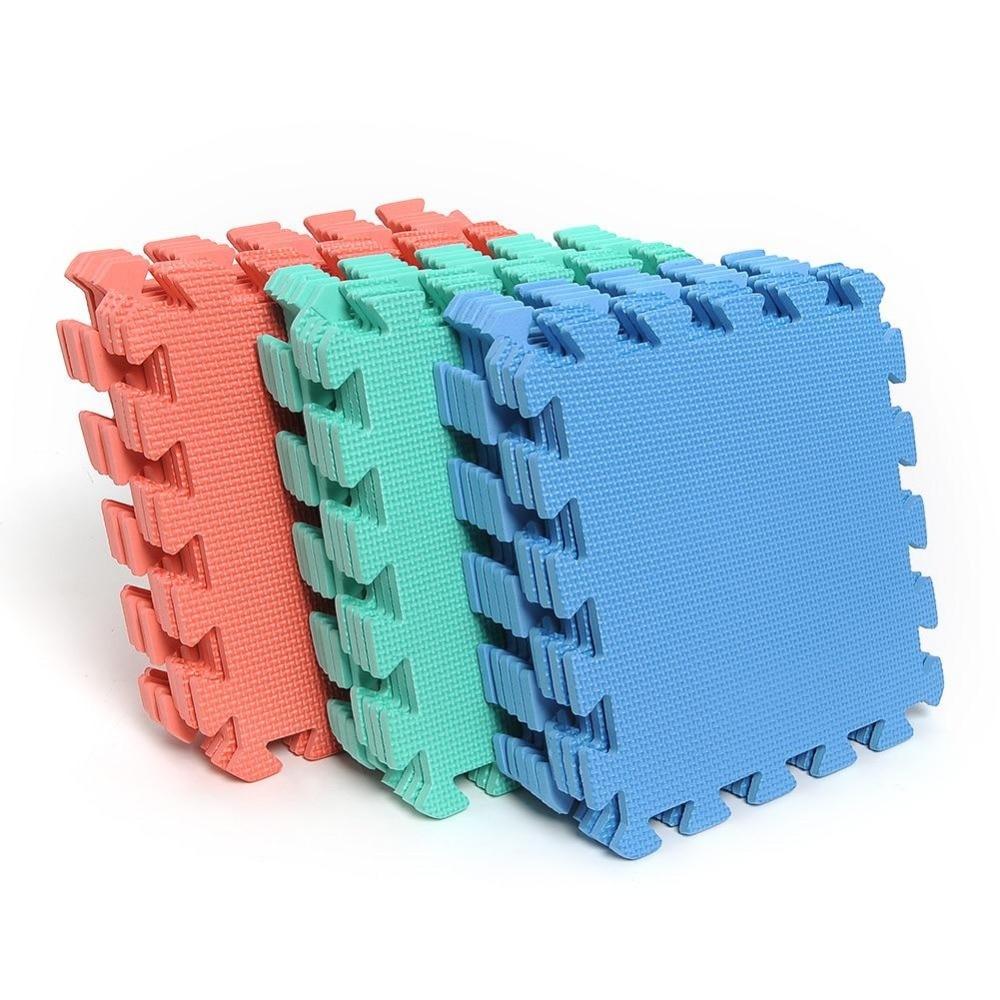 Floor mats interlocking tiles - 9pcs Interlocking Puzzle Floor Foam Gym Mats Thick Squares Tile Kids Play China Mainland