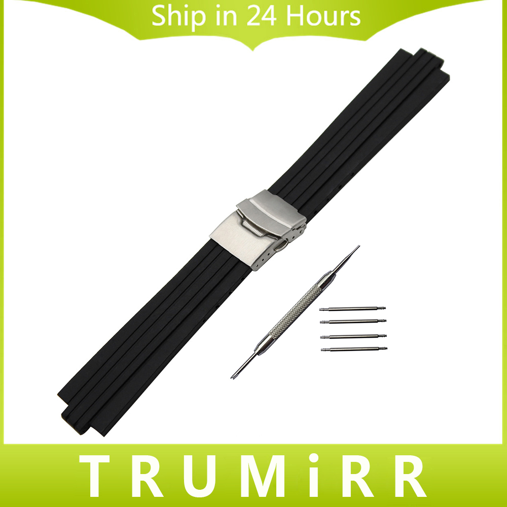 22mm x 12mm 13mm Convex Mouth Watchband Silicone Rubber Watch Band Stainless Steel Safety Buckle Strap Wrist Bracelet + Tool