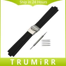 22mm x 12mm 13mm Caucho de Silicona Watch Band Correa Boca Convexa de Acero Inoxidable Hebilla De La Correa de Seguridad pulsera + Herramienta
