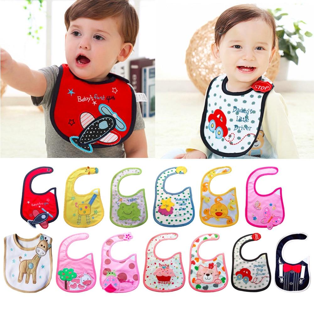 100% Brand New 13 Styles Baby Infant Boy Girl Waterproof Cute Multi Cartoon Patterns Bibs For Feeding