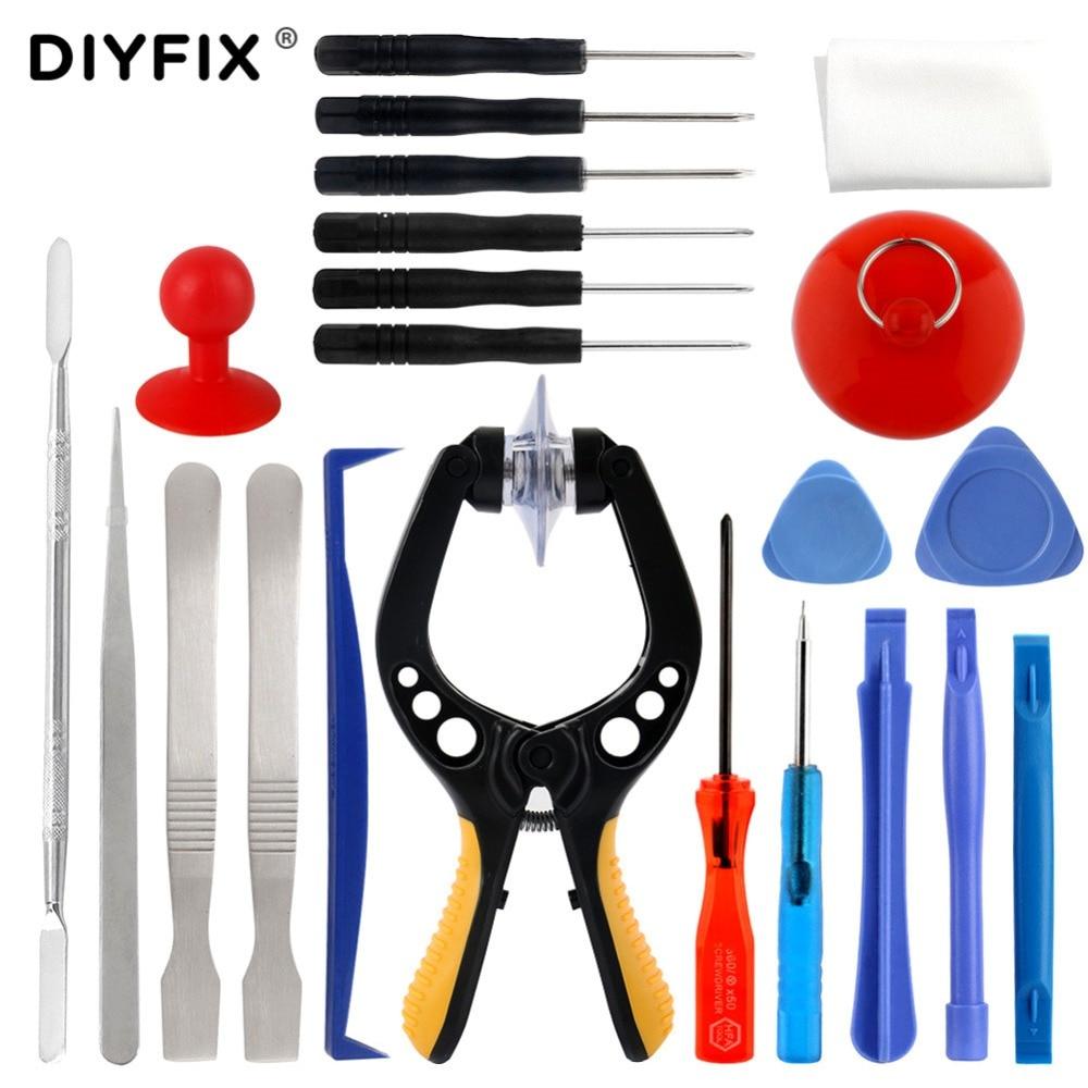 цена на DIYFIX 22 in 1 Opening Tools Metal Pry Bar Screwdriver Smartphone Disassemble Repair Tools Kit for iPhone Samsung Hand Tools Set