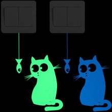 Hungry Cat See the Fish Funny Glow Switch Sticker Home Decor Lovely Cartoon Luminous Wall Kids Room DIY Decoration Decal