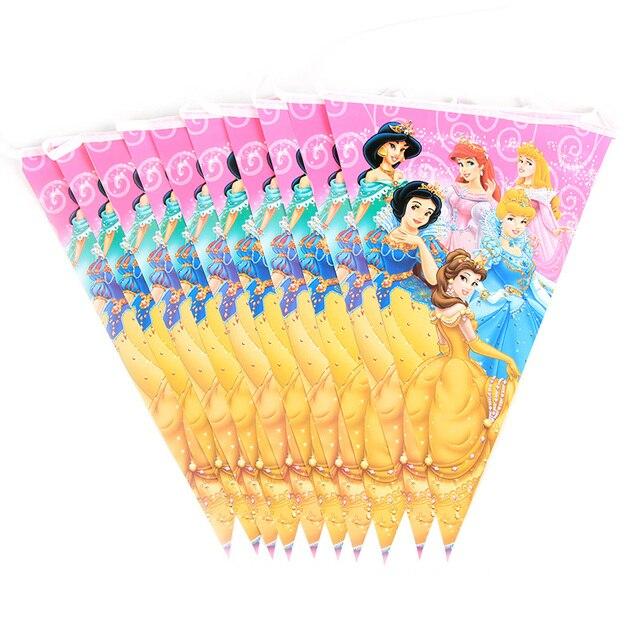 90 Pçs/lote Princesa Festa Temática Decoração Pacote Para Crianças Festa de Aniversário Suprimentos Descartáveis Prato Copo de Palha Guardanapo Bandeira