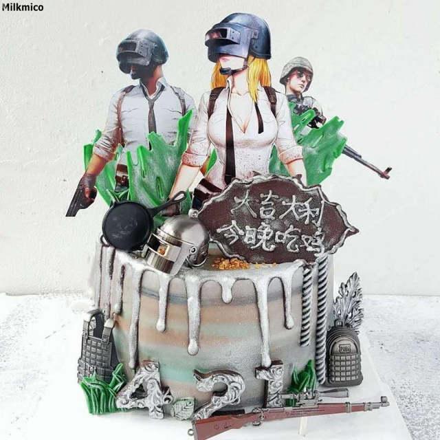 Online Shop Milkmico New Pubg Game Cupcake Picks Birthday Cake