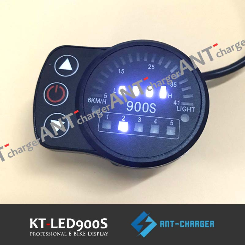 Freeshipping Ebike 24v/36v/48v Kt Led900s Led Display Intelligent Meter Black Control Panel With 5 Pins Plug For Kt Controller Battery Accessories
