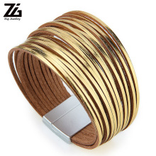 ZG Bohemian Leather Bracelets for Women 2019 Fashion Ladies Slim Strips Multilayer Wide Wrap Bracelet Female Jewelry Gift