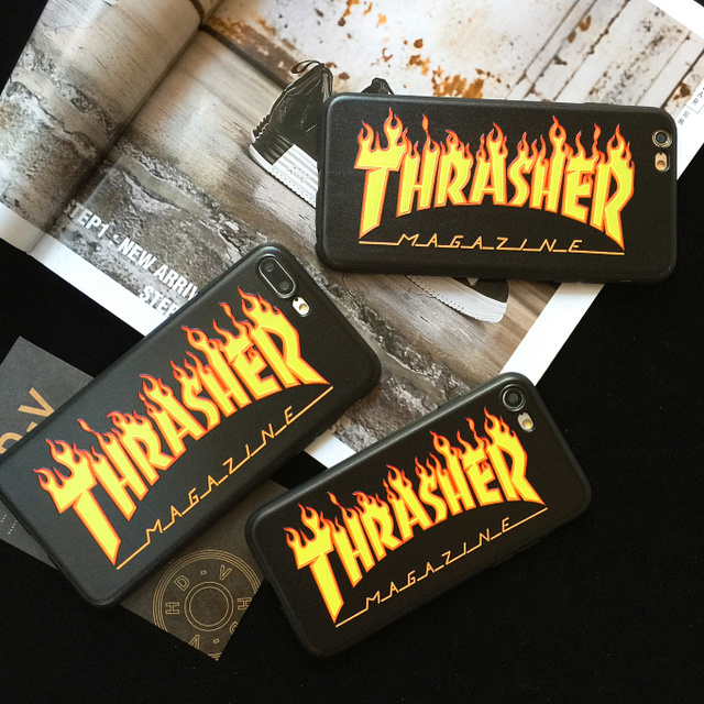 promo code f08f6 50fbf THRASHER case for iphone 5 5s se6 6plus 6s plus 7 7plus 8 X EA Fashion  street Trend brand Soft silicone phone cover durable coqu