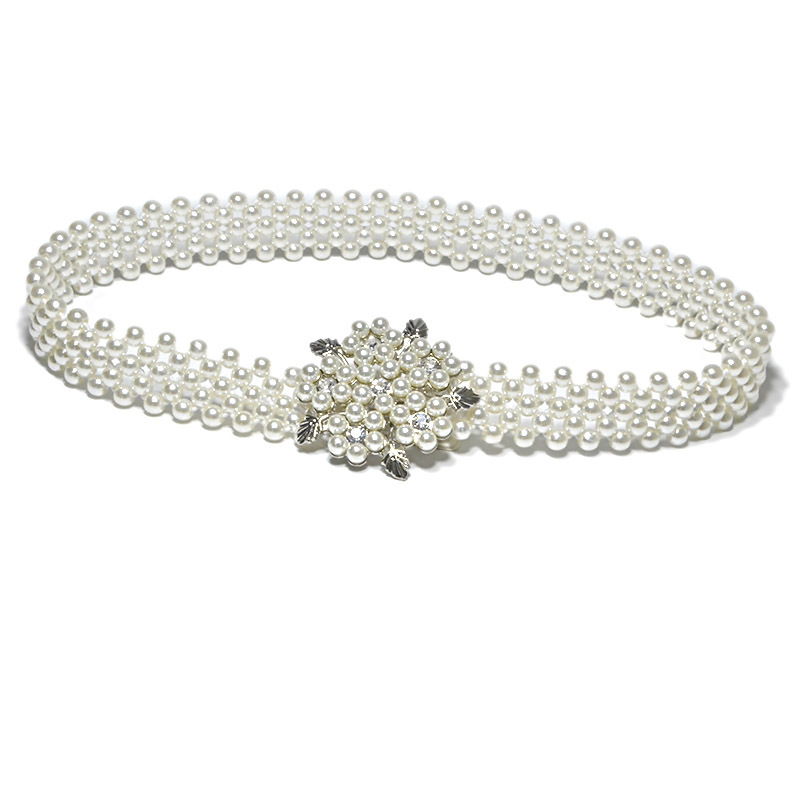 [AETRENDS] Elegant Women Pearl Crystal Cinch Belt Waist Flower Elastic Buckle Chain Cummerbunds Girls Waistband D-0042